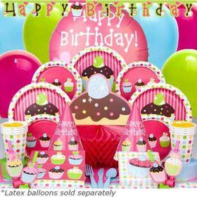 Cupcake Birthday Party Ultimate Tableware Kit Serves 8