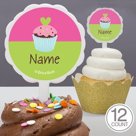 Cupcake Birthday Personalized Cupcake Picks (12 Count)