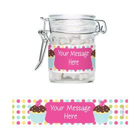 Cupcake Birthday Personalized Glass Apothecary Jars (10 Count)