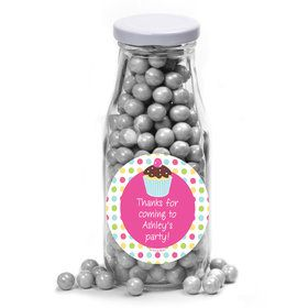 Cupcake Birthday Personalized Glass Milk Bottles (12 Count)