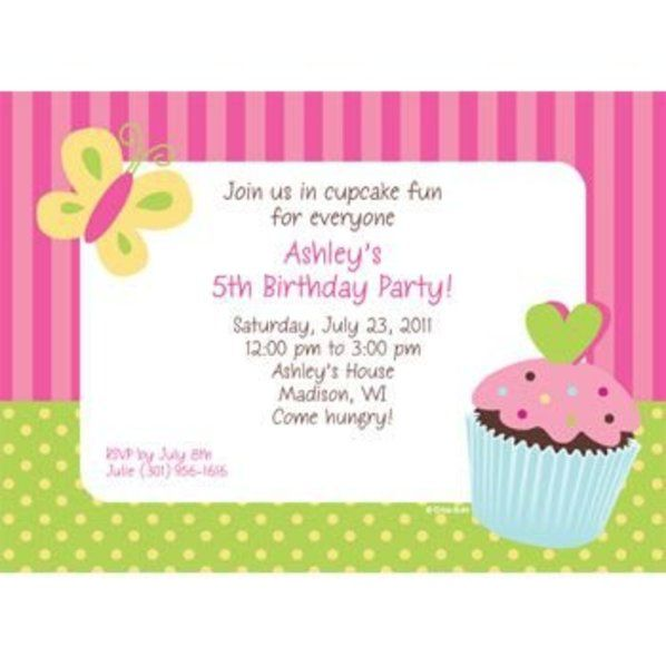 cupcake birthday personalized invitation custom invitations