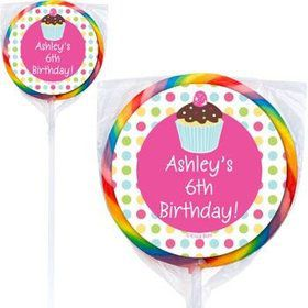 Cupcake Birthday Personalized Lollipops (pack of 12)