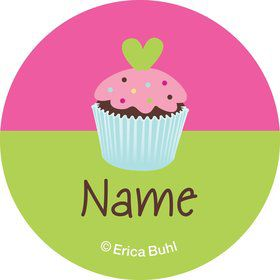 Cupcake Birthday Personalized Mini Stickers (Sheet of 24)