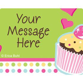 Cupcake Birthday Personalized Rectangular Stickers (Sheet of 15)