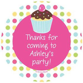 Cupcake Birthday Personalized Stickers (sheet of 12)