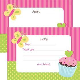 Cupcake Birthday Personalized Thank You Note (each)