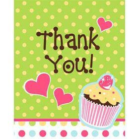 Cupcake Birthday Thank You Notes (8-pack)
