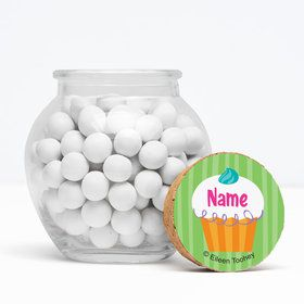 "Cupcake Party Personalized 3"" Glass Sphere Jars (Set of 12)"