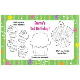 Cupcake Party Personalized Activity Mat (8 pack)
