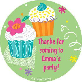 Cupcake Party Personalized Sticker (sheet of 12)