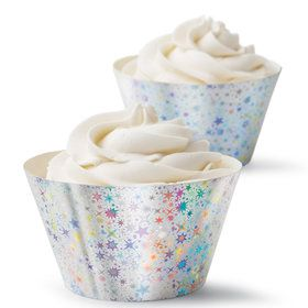 Cupcake Wrap Hologram Silver (24 Count)