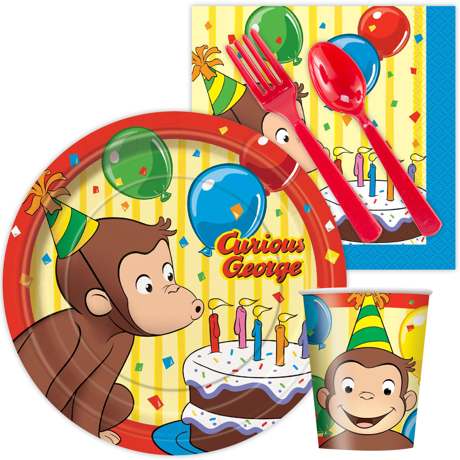 Curious George Standard Tableware Party Supplies Kit BB102022