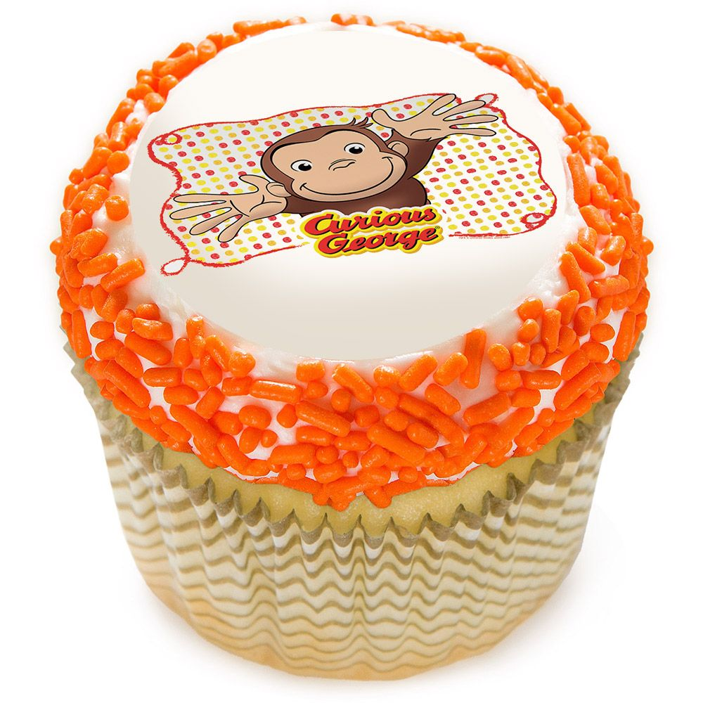 "Curious George Let's Celebrate 2"" Edible Cupcake Topper (12 Images) - Party Supplies"