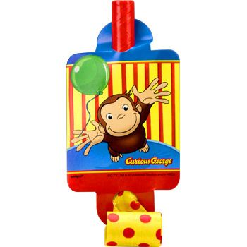 Curious George Birthday Party Supplies Blowers (8-pack)