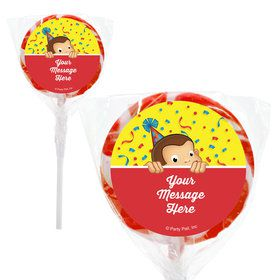 "Curious Monkey Personalized 2"" Lollipops (20 Pack)"