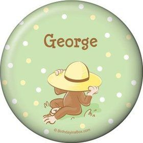 Curious Monkey Personalized Button (each)