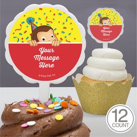Curious Monkey Personalized Cupcake Picks (12 Count)