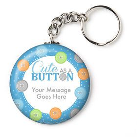 "Cute as a Button Boy Personalized 2.25"" Key Chain (Each)"