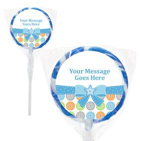"Cute as a Button Boy Personalized 2"" Lollipops (20 Pack)"