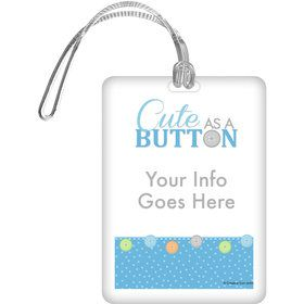 Cute as a Button Boy Personalized Bag Tag (Each)