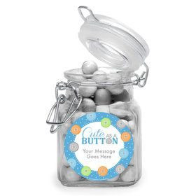 Cute as a Button Boy Personalized Glass Apothecary Jars (12 Count)