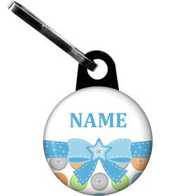 Cute as a Button Boy Personalized Zipper Pull (Each)