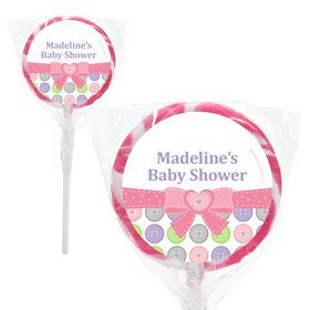 "Cute as a Button Girl Personalized 2"" Lollipops (20 Pack)"