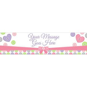 Cute as a Button Girl Personalized Banner (Each)