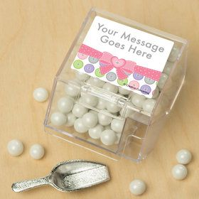 Cute as a Button Girl Personalized Candy Bin with Candy Scoop (10 Count)