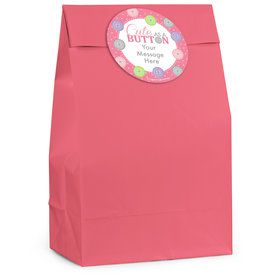 Cute as a Button Girl Personalized Favor Bag (12 Pack)