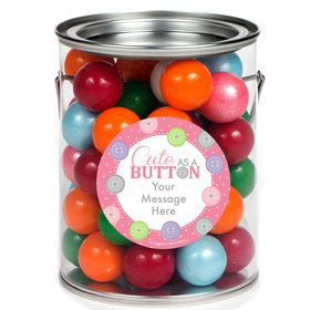 Cute as a Button Girl Personalized Paint Cans (6 Pack)
