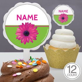 Daisy Power Personalized Cupcake Picks (12 Count)