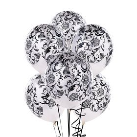Damask Pearl White Latex Balloons
