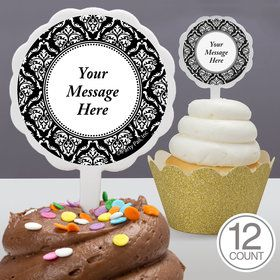 Damask Personalized Cupcake Picks (12 Count)