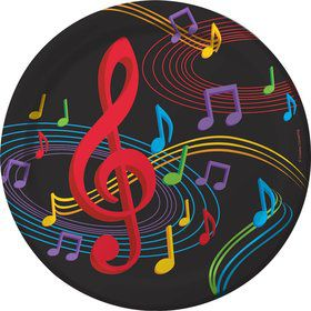 "Dancing Music Notes 9"" Dinner Plates (8 Pack)"
