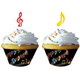 Dancing Music Notes Cupcake Wrappers, W/ Picks (12 Pack)