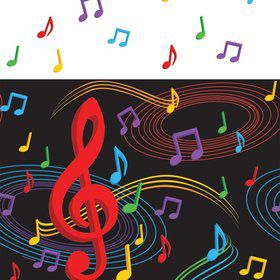 "Dancing Music Notes Tablecover, Plastic 54""X108"""