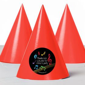 Dancing Music Personalized Party Hats (8 Count)