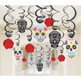Day of the Dead Foil Swirl Decorations Kit