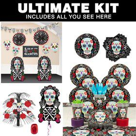 Day of the Dead Party Ultimate Tableware Kit Serves 18