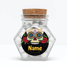 """Day of the Dead Personalized 3"""" Glass Hexagon Jars (Set of 12)"""