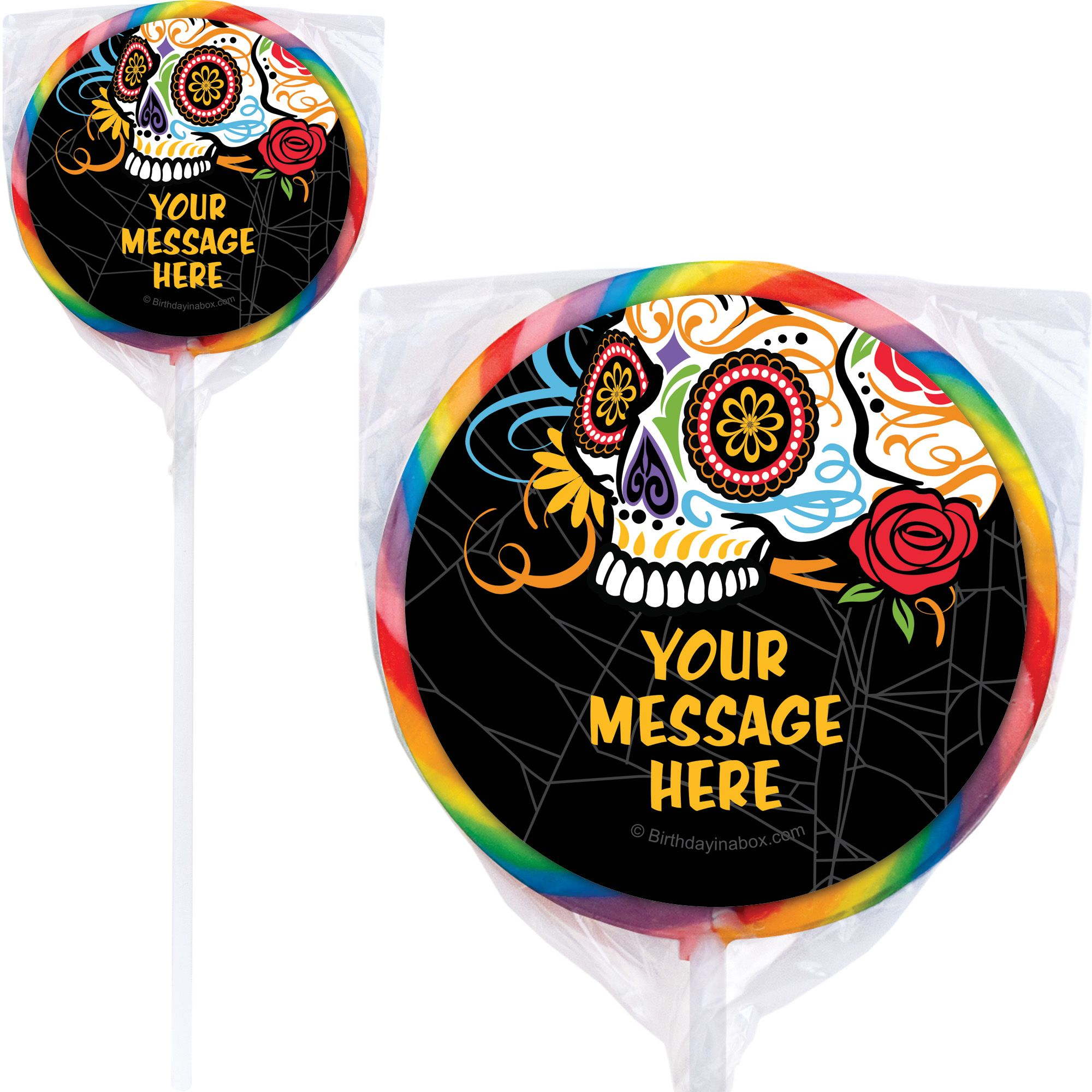 Day Of The Dead Personalized Lollipops (12 Pack) BB1466PP
