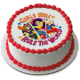 "DC Super Hero Girls 7.5"" Round Edible Cake Topper (Each)"