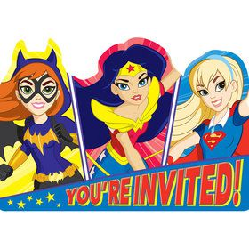 DC Super Hero Girls Postcard Invitations (8 Count)