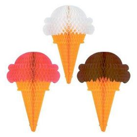 Decorative Hanging Tissue Ice Cream Cones (each)