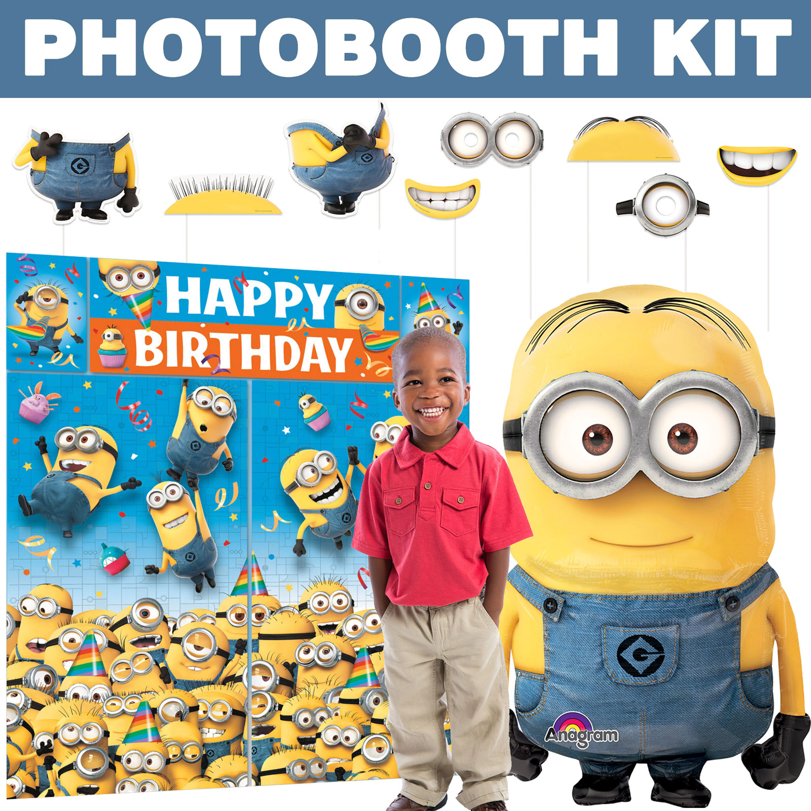 Despicable Me Deluxe Photo Booth Kit - Party Supplies BBKIT1030D
