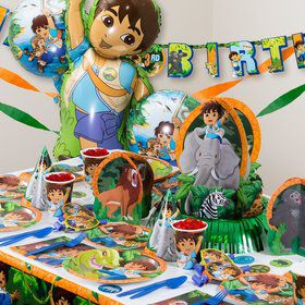 Diego Birthday Party Ultimate Tableware Kit Serves 8