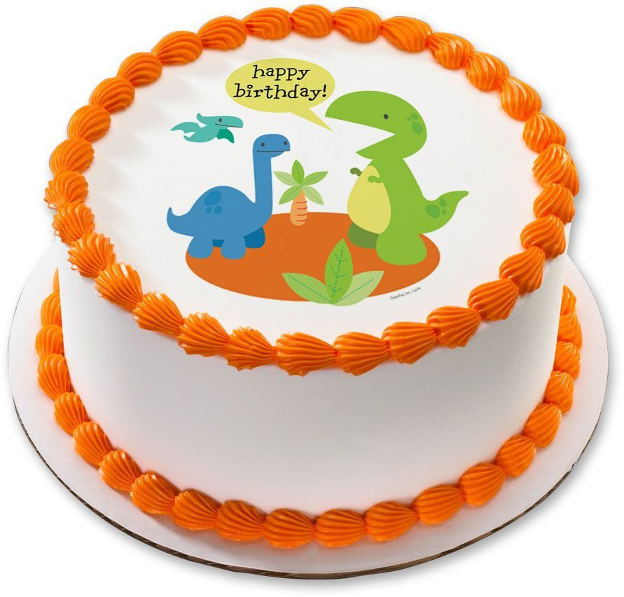 Dino Birthday 75 Round Edible Cake Topper Each