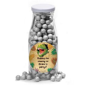 Dinosaur Adventure Personalized Glass Milk Bottles (12 Count)