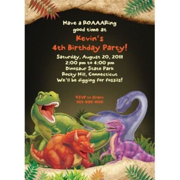 Dinosaur Adventure Personalized Invitation Custom Invitations